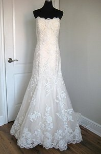Casablanca Champagne/Ivory Lace/Tulle 2163 Formal Wedding Dress Size 16 (XL, Plus 0x)