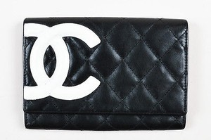 Chanel Chanel Black White Quilted Leather Cc Logo Ligne Cambon Wallet
