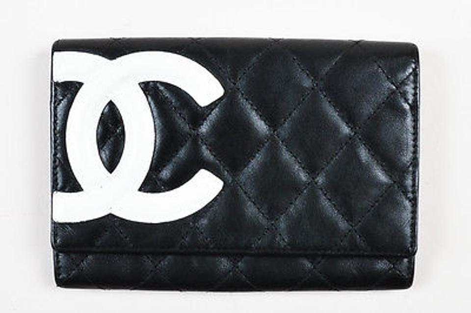7c06e58f2 Chanel Black Wallet With White Logo