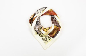 Hermès Hermes Cream Gray Yellow Silk Twill Mask Print Persona 90cm Square Scarf