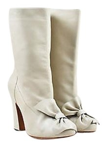 Marni Leather Bow Detail Gray Boots