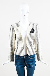 Chanel Chanel 01c Cream Black Tweed Sequin Striped Camellia Flower Blazer Jacket