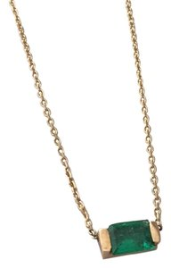 C'estsla Dainty 14k Yellow Gold Bezel Set Emerald Baguette Necklace