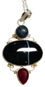 New Agate Garnet Moonstone Gemstone Necklace Pendant 925 Silver J673