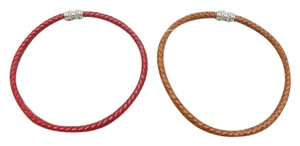 Judith Ripka Judith Ripka. Brown and Red woven leather Choker
