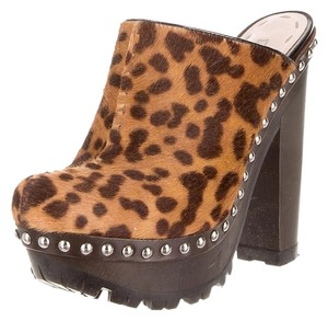Miu Miu Pony Hair Silver Studs Brown Tones Mules