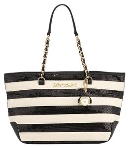 Betsey Johnson Sequins Tote in Black/White