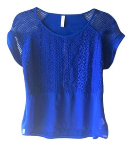 Xhilaration Mesh Cap Sleeves Lace Sheer T Shirt blue