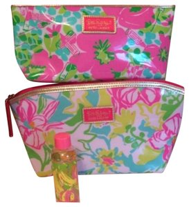 Lilly Pulitzer 3 Piece Set - 2 Makeup Bags & 1 Cosmetics Bottle