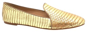 Brian Atwood B Leather Smoking Brogues Snakeskin Python Print Womens Designer Claudelle Metallic Lizard Reptile Brogue Gold Flats