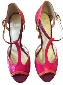 Isola Peep Toe T-strap Open Toe Magenta, Coral, Berry Sandals