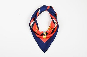 Hermès Hermes Red Navy Gold Multicolor Silk Twill Sword Eperon Dor Print Scarf 90 Cm