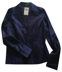 Ralph Lauren 100% Silk Shirt Top Navy Blue