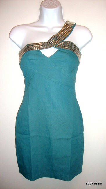 Xtaren Studded Turquoise One Shoulder Club Cocktail Dress