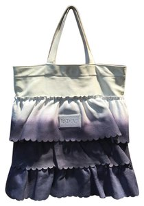 RED Valentino Leather Tote in Blue, Off-White