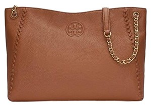 Tory Burch Marion Pebbled Leather Tote in Bark