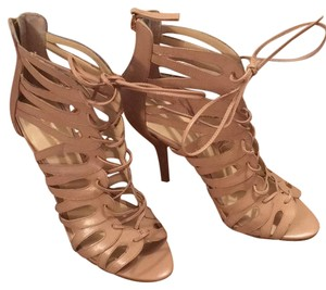 Nine West Cage Heel Lace-up Nude Pumps