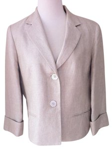 Talbots Metallic Gold Linen Cream Blazer