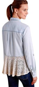 Anthropologie Lace Back Button Down Shirt Blue