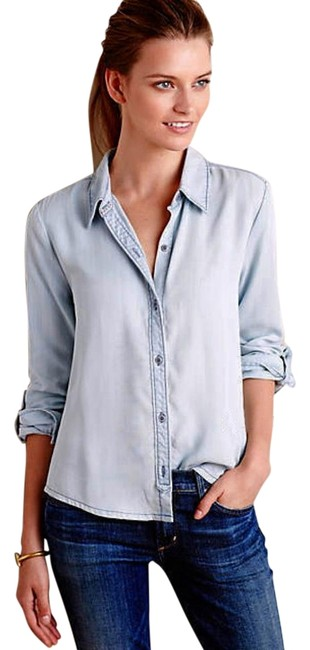 Anthropologie Lace Back Button Down Shirt Blue Image 2