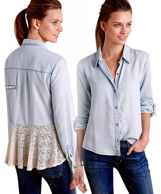 Anthropologie Lace Back Button Down Shirt Blue Image 3