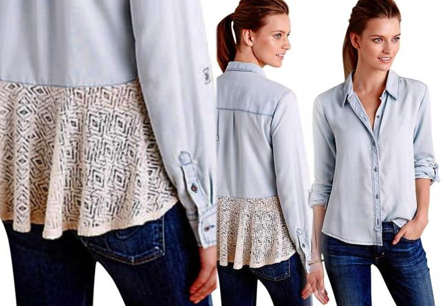 Anthropologie Lace Back Button Down Shirt Blue Image 4