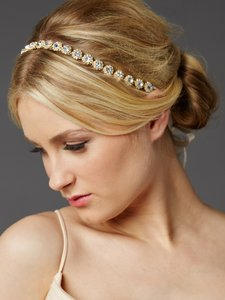 Mariell Gold Bridal Headband With Genuine Preciosa Crystals 4455hb-g-i