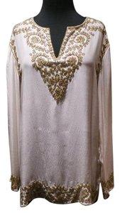 Adrienne Landau Embellished Silk Cover Up Pool Cocktails Tunic
