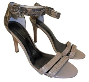 Coach Strappy Leather Sole Snake Skin Type Heel Stiletto Heel taupe Sandals