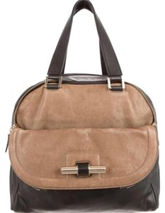 Jimmy Choo Satchel in Cognac Brown And Black Leather
