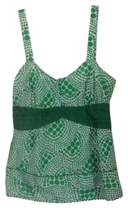 Anthropologie Top Kelly green & white