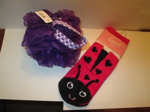 Bath and Body Works Bath and Body Works Ladybug slip on slippers/shower wash scrunchy.