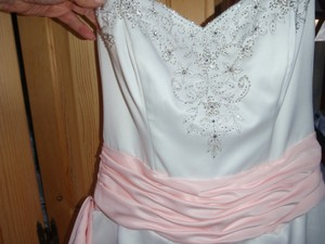 Jodi Kristopher White With Pink Ribbon Strapless Rhinestone Embroidered/sequin Gathered Gown Dress