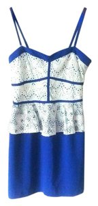 C. Luce short dress Blue and White Lace Mini Strappy Classic Stretchy on Tradesy