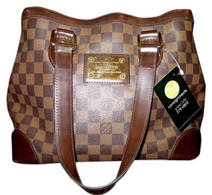 Louis Vuitton Leather Coated Canvas Chocolate Satchel in Brown