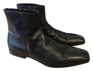 Prada Men Leather Side Zipper black Boots
