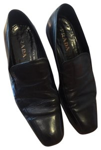 Prada Leather Slip On Loafers black Flats