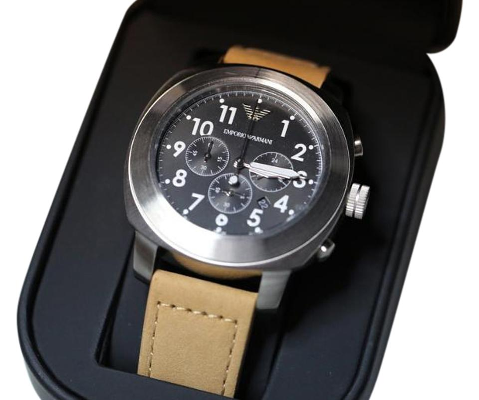 a889455d8c0d Emporio Armani Black and Light Brown Leather Mens Ar6060 Watch - Tradesy