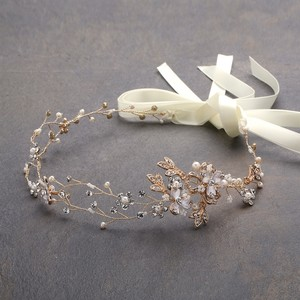 Mariell Handmade Bridal Headband With Painted Gold Vines 4386hb-i-g