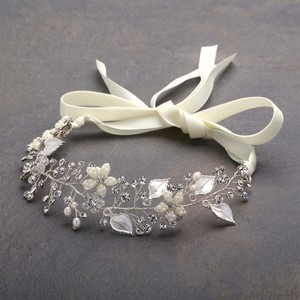 Mariell Bridal Ribbon Headband With Hand Painted Silver Leaves 4384hb-i-s