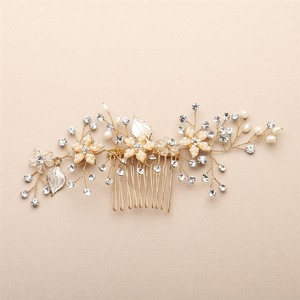 Mariell Bridal Hair Comb With Silvery Gold Leaves Freshwater Pearl And Crystal Sprays 4425hc-i-g