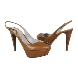 Sergio Rossi Khaki Leather Brown Platforms