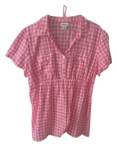Motherhood Maternity Pink Checkered Blouse