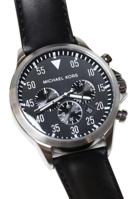 Item - Stainless Steel Mk8442 Black Dial & Leather Chronograph Watch