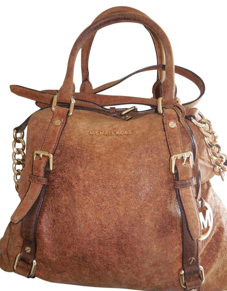 Michael Kors Ostrich Large Satchel In Brown