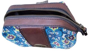 Fossil Fossil Velour Blue Print Cosmetic Bag