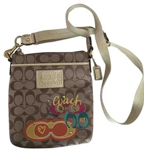 Coach Tote in Tan With Pink, Gold