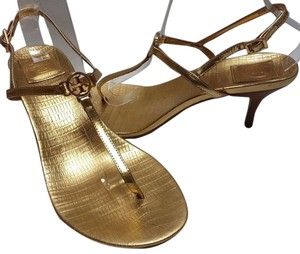 Tory Burch Buckle Closure Leather Upper Ankle Strap Logo Medallion Kitten Heels Gold Metallic Sandals