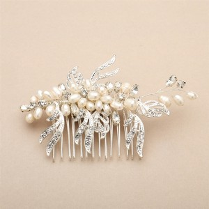 Mariell Freshwater Pearl And Crystal Bridal Hair Comb With Graceful Silver Leaves 4427hc-i-s