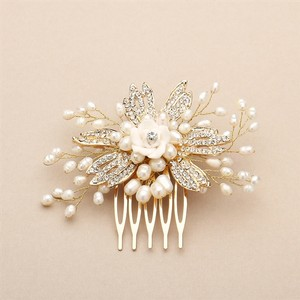 Mariell Golden Freshwater Pearl Wedding Comb With Pave Crystals And Delicate Flower 4428hc-i-g